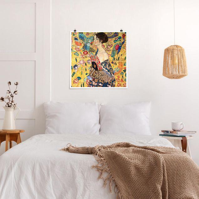 Poster - Gustav Klimt - Dame mit Fächer - Quadrat 1:1
