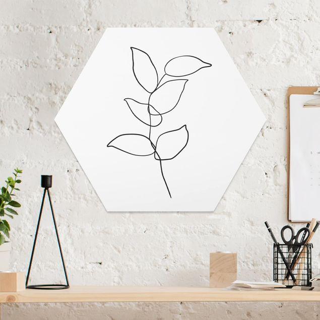Hexagon Bild Forex - Line Art Zweig Schwarz Weiß