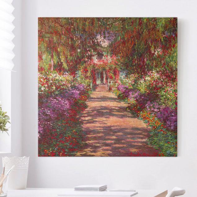 Leinwandbild - Claude Monet - Weg in Monets Garten in Giverny - Quadrat 1:1