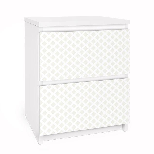 Möbelfolie für IKEA Malm Kommode - Rautengitter hellbeige - Selbstklebefolie
