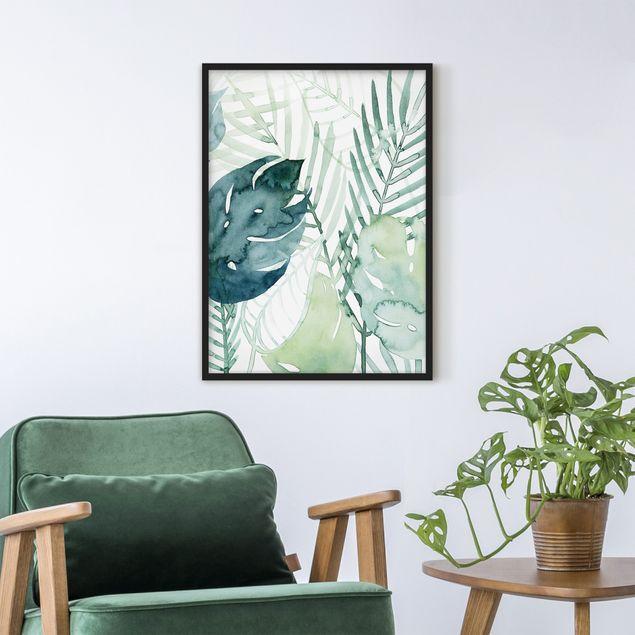 Bild mit Rahmen - Palmwedel in Wasserfarbe I - Hochformat 4:3