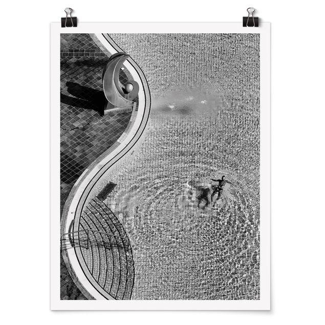 Poster - Schwimmbad Schwarz-Weiß - Hochformat 3:4