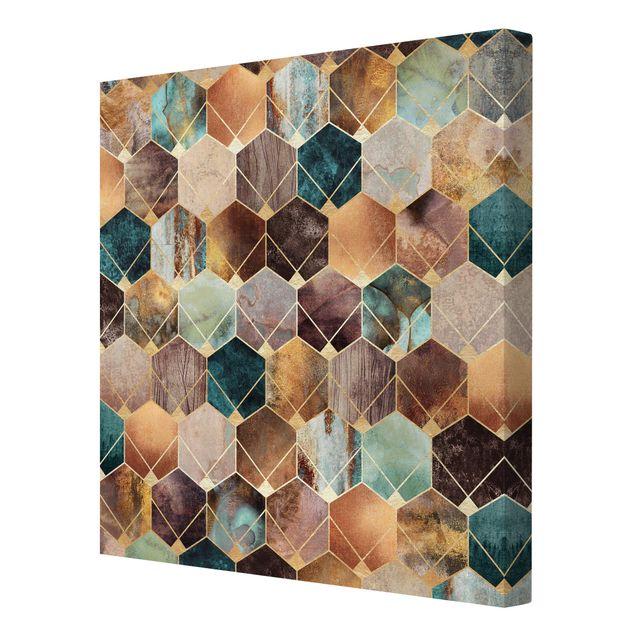 Leinwandbild - Türkise Geometrie goldenes Art Deco - Quadrat 1:1