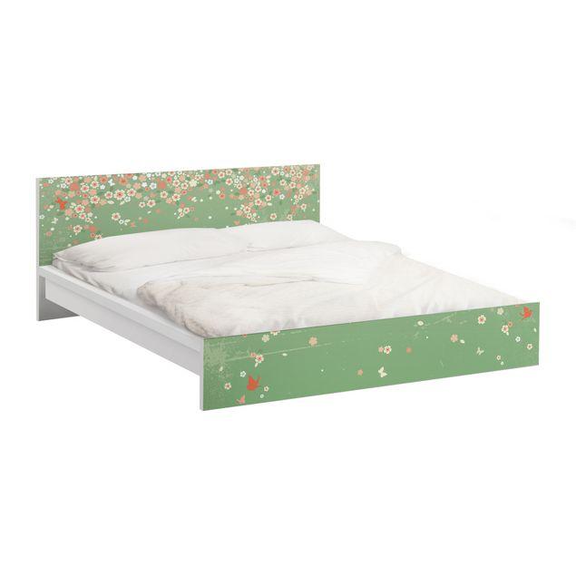 Möbelfolie für IKEA Malm Bett niedrig 140x200cm - Klebefolie No.EK236 Spring Background