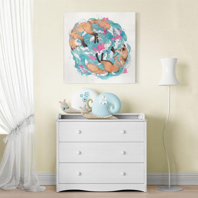 Leinwandbild - Illustration Füchse und Wellen Malerei - Quadrat 1:1