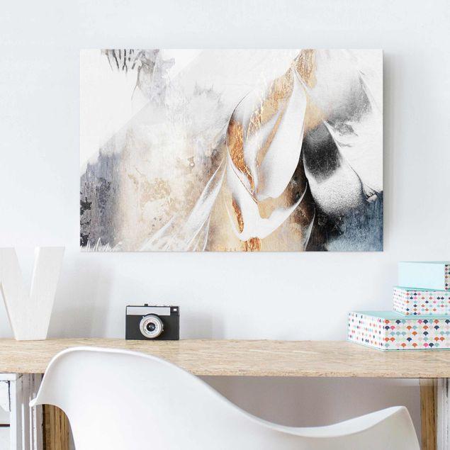Glasbild - Goldene abstrakte Wintermalerei - Querformat 2:3