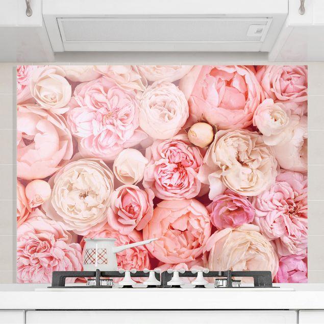 Glas Spritzschutz - Rosen Rosé Koralle Shabby - Querformat - 4:3