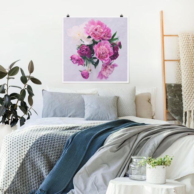 Poster - Pfingstrosen Shabby Rosa Weiß - Quadrat 1:1