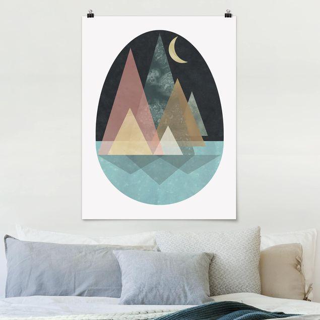 Poster - Utopische Landschaft - Mond - Hochformat 3:4