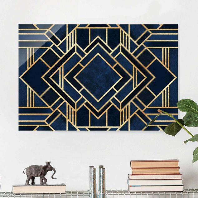 Glasbild - Art Deco Gold - Querformat 2:3