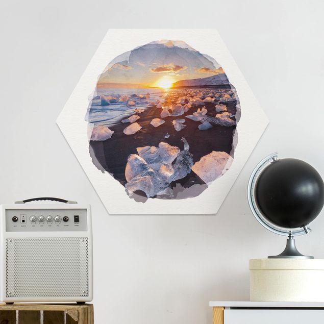 Hexagon Bild Forex - Wasserfarben - Eisbrocken am Strand Island