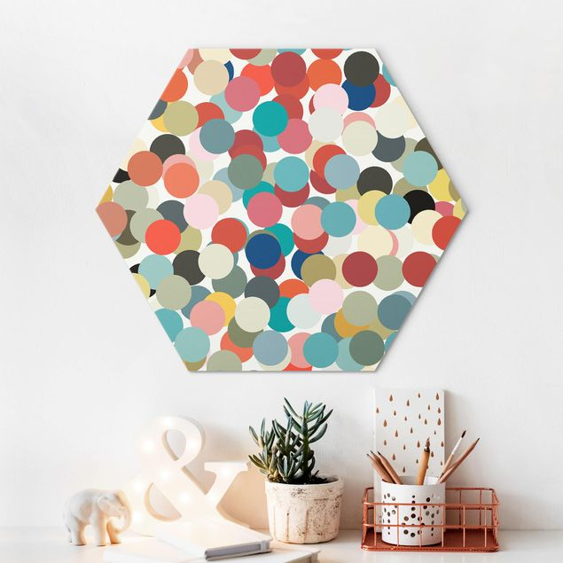 Hexagon Bild Alu-Dibond - Konfetti