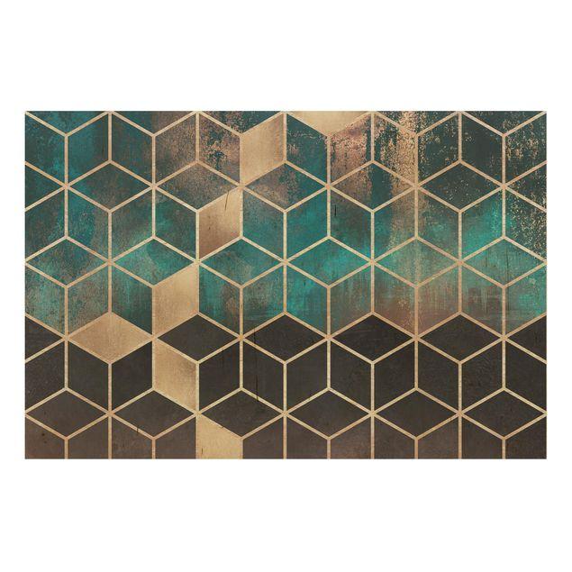 Holzbild - Türkis Rosé goldene Geometrie - Querformat 2:3