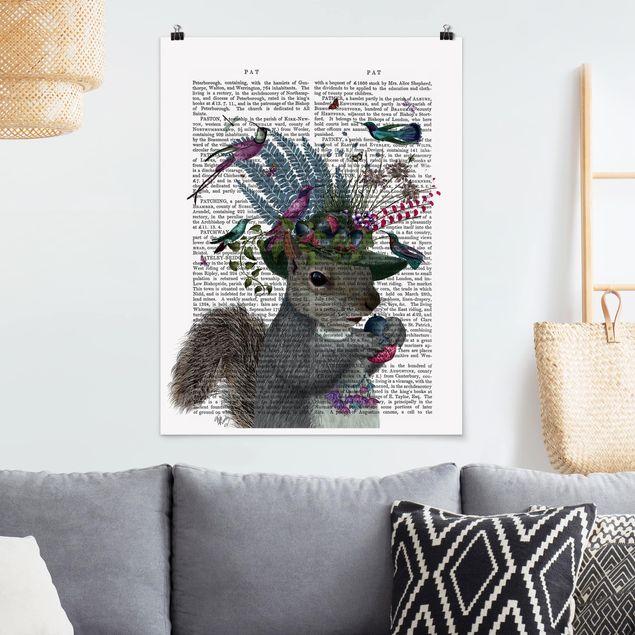 Poster - Vogelfänger - Eichhörnchen mit Eicheln - Hochformat 3:4