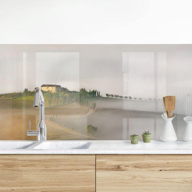 Küchenrückwand - Morgennebel in der Toskana