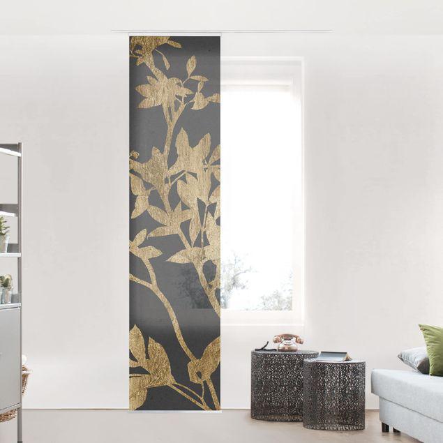 Schiebegardinen Set - Goldene Blätter auf Mokka II - Flächenvorhang