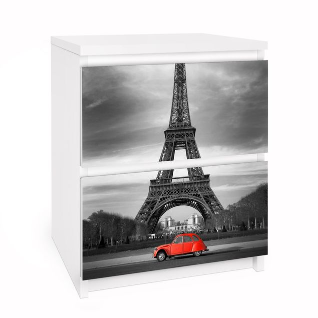 Möbelfolie für IKEA Malm Kommode - Selbstklebefolie Spot on Paris