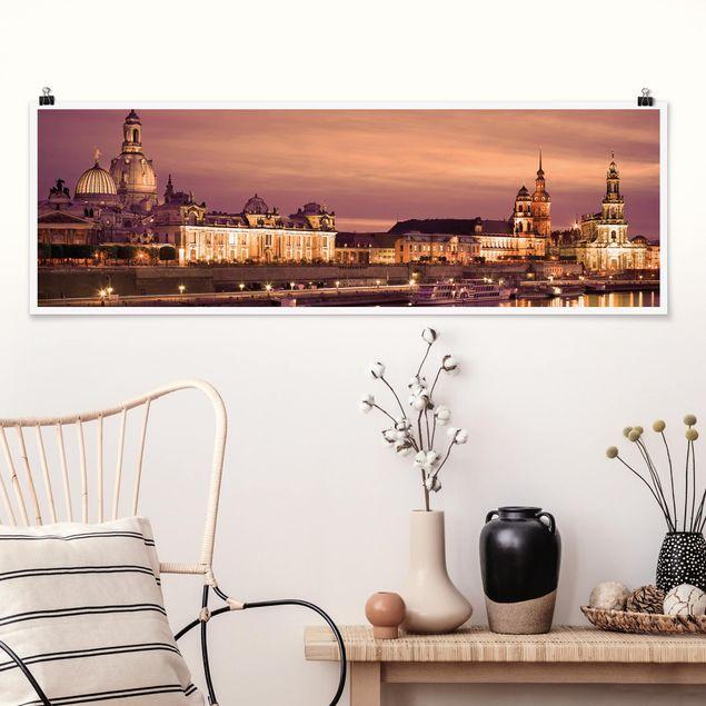 Poster - Canalettoblick Dresden - Panorama Querformat