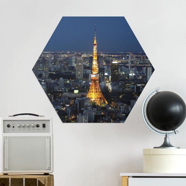 Hexagon Bild Alu-Dibond - Tokyo Tower