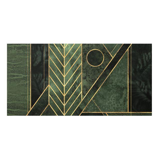 Spritzschutz Glas - Geometrische Formen Smaragd Gold - Querformat - 2:1