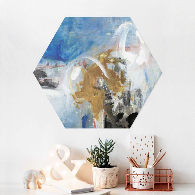 Hexagon Bild Alu-Dibond - Wechselspiel Abstrakt II