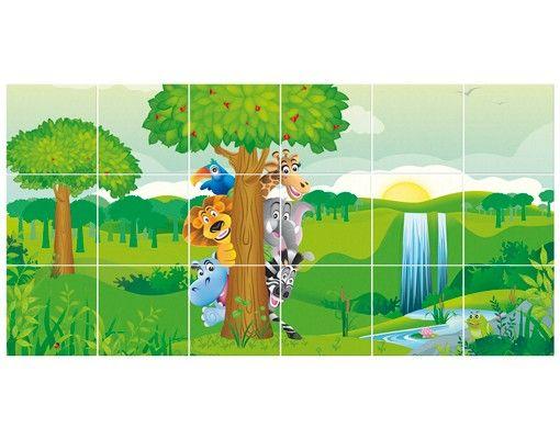 Fliesenbild - No.BF1 Dschungeltiere