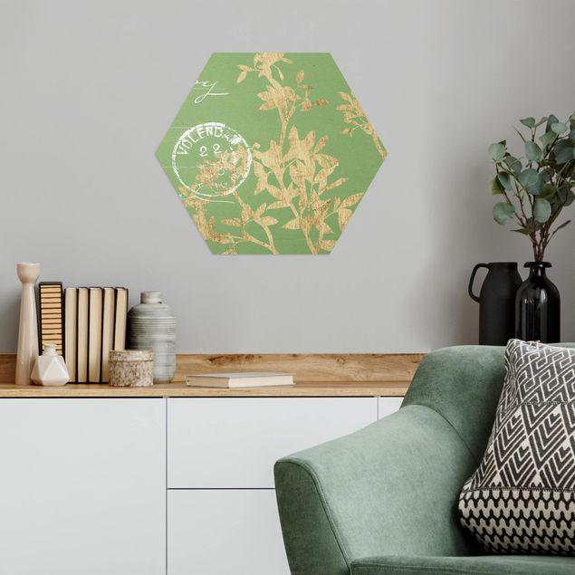 Hexagon Bild Alu-Dibond - Goldene Blätter auf Lind II