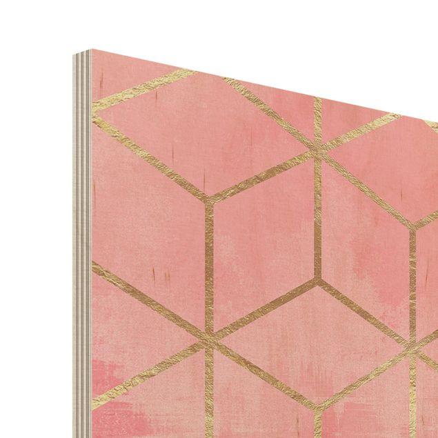 Holzbild - Make It Happen Geometrie Pastell - Querformat 2:3