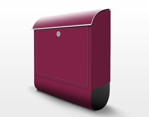 Briefkasten Weinrot - Colour Wine Red - Roter Briefkasten mit Zeitungsfach