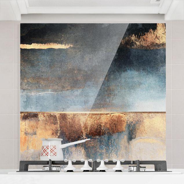 Glas Spritzschutz - Abstraktes Seeufer in Gold - Quadrat - 1:1