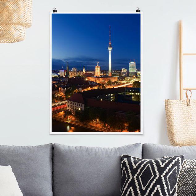 Poster - Fernsehturm bei Nacht - Hochformat 3:4