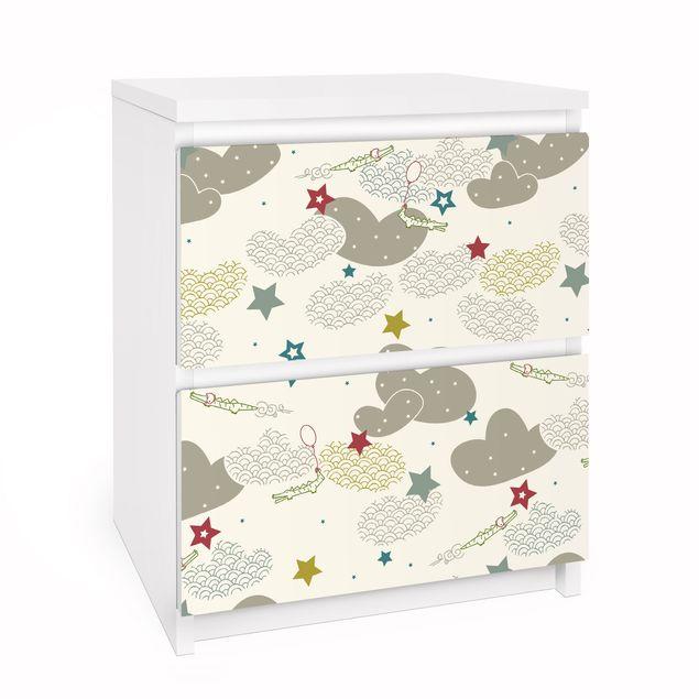 Möbelfolie für IKEA Malm Kommode - Selbstklebefolie Sky Crocodiles