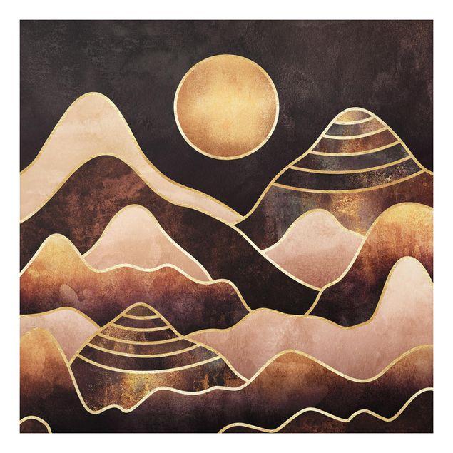 Forex Fine Art Print - Goldene Sonne abstrakte Berge - Quadrat 1:1