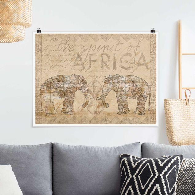 Poster - Vintage Collage - Spirit of Africa - Querformat 3:4