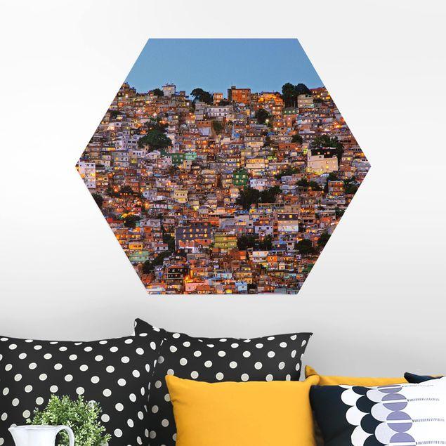 Hexagon Bild Alu-Dibond - Rio de Janeiro Favela Sonnenuntergang