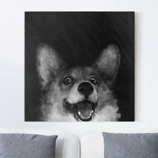 Leinwandbild - Illustration Hund Corgi Malerei Schwarz Weiß - Quadrat 1:1