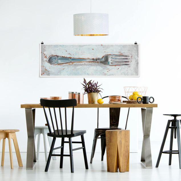 Poster - Impressionistisches Besteck - Gabel - Panorama Querformat