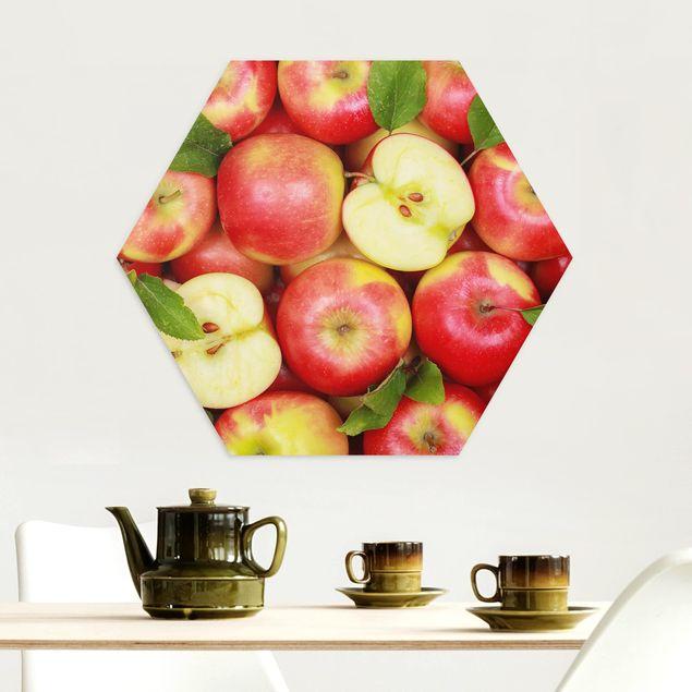 Hexagon Bild Alu-Dibond - Saftige Äpfel