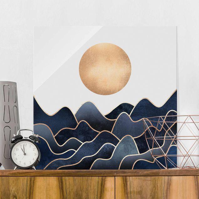 Glasbild - Goldene Sonne blaue Wellen - Quadrat 1:1