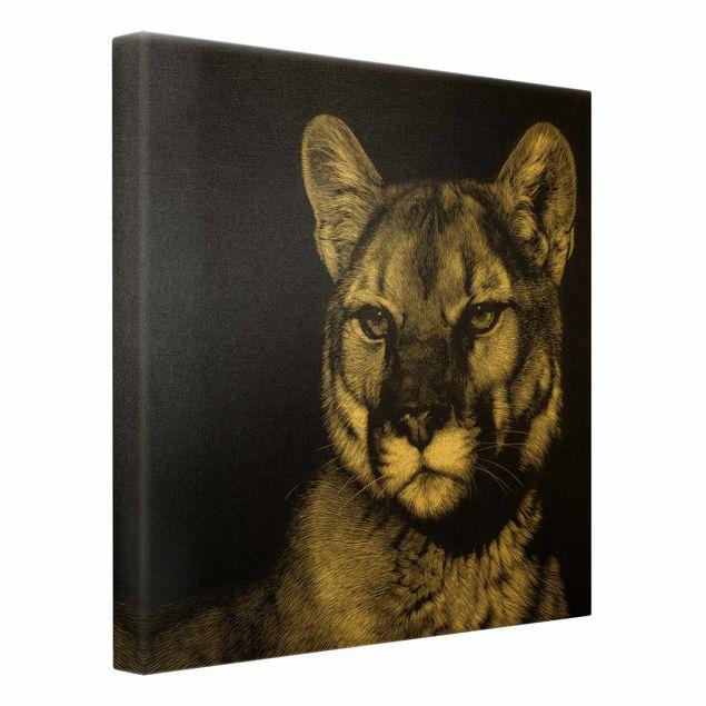 Leinwandbild Gold - Puma vor Schwarz - Quadrat 1:1