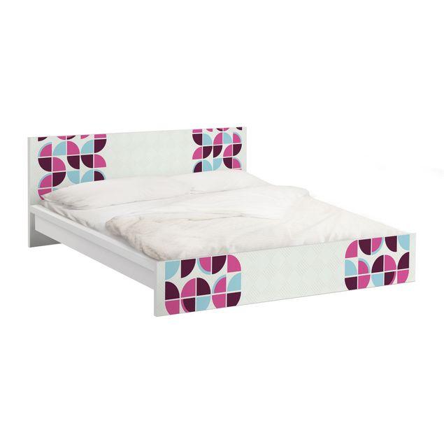 Möbelfolie für IKEA Malm Bett niedrig 180x200cm - Klebefolie Retro Kreise Musterdesign