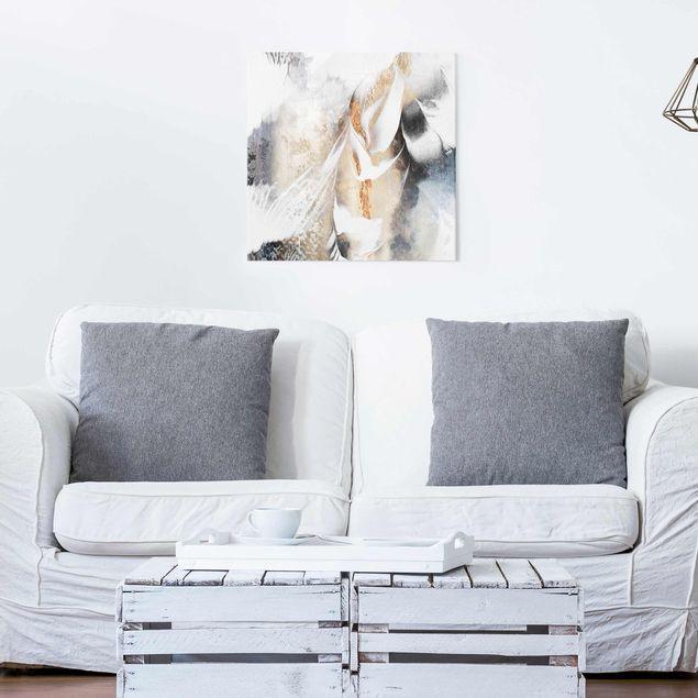Glasbild - Goldene abstrakte Wintermalerei - Quadrat 1:1