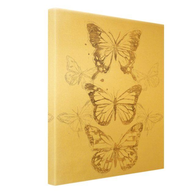 Leinwandbild Gold - Schmetterlingskomposition in Gold I - Hochformat 3:4