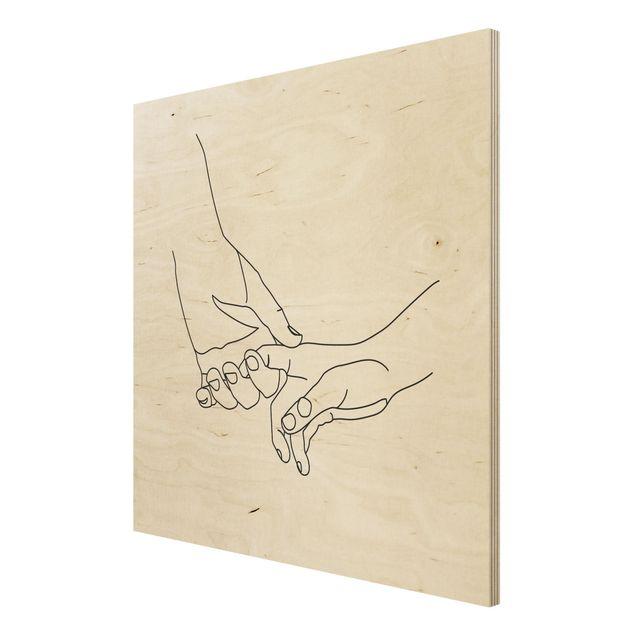 Holzbild - Zärtliche Hände Line Art - Quadrat 1:1