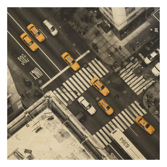 Holzbild - New York City Cabs - Quadrat 1:1