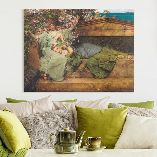 Leinwandbild - Sir Lawrence Alma-Tadema - Im Rosengarten - Querformat 3:4