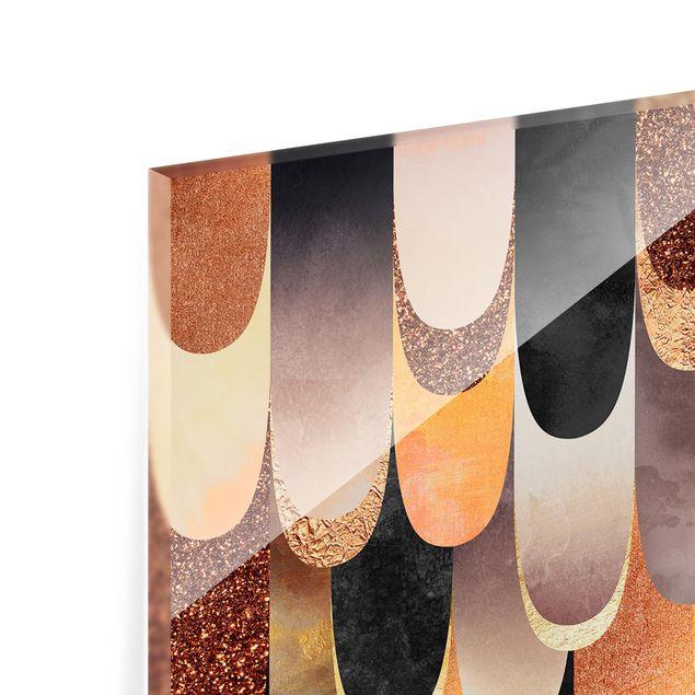 Spritzschutz Glas - Federn Bronze Schwarz - Querformat - 2:1