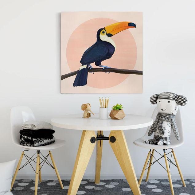 Leinwandbild - Illustration Vogel Tukan Malerei Pastell - Quadrat 1:1