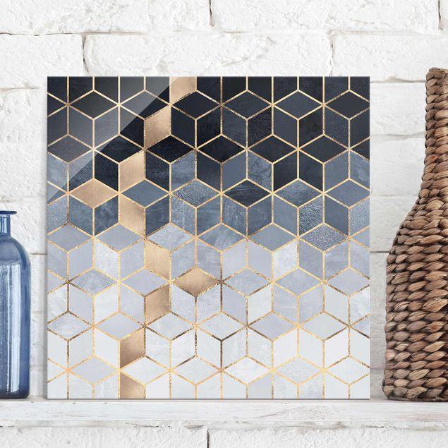 Glasbild - Blau Weiß goldene Geometrie - Quadrat 1:1