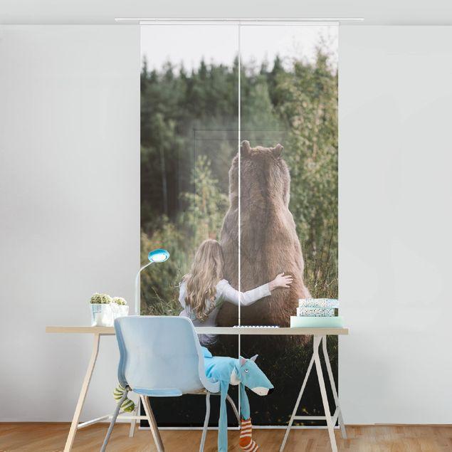 Schiebegardinen Set - Mädchen mit Braunbär - Flächenvorhang